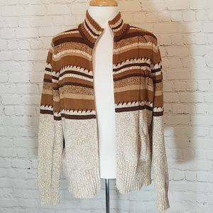 "Brown, striped ""grandpa "" sweater"